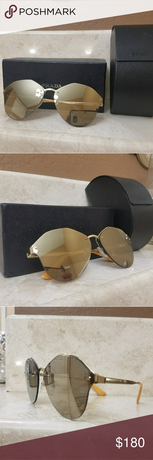 195f049f02a6 Authentic Prada Sunglasses Authentic Prada Sunglasses. Light brown mirror  gold. Serial number reads SPR 64T. New Prada Accessories Sunglasses