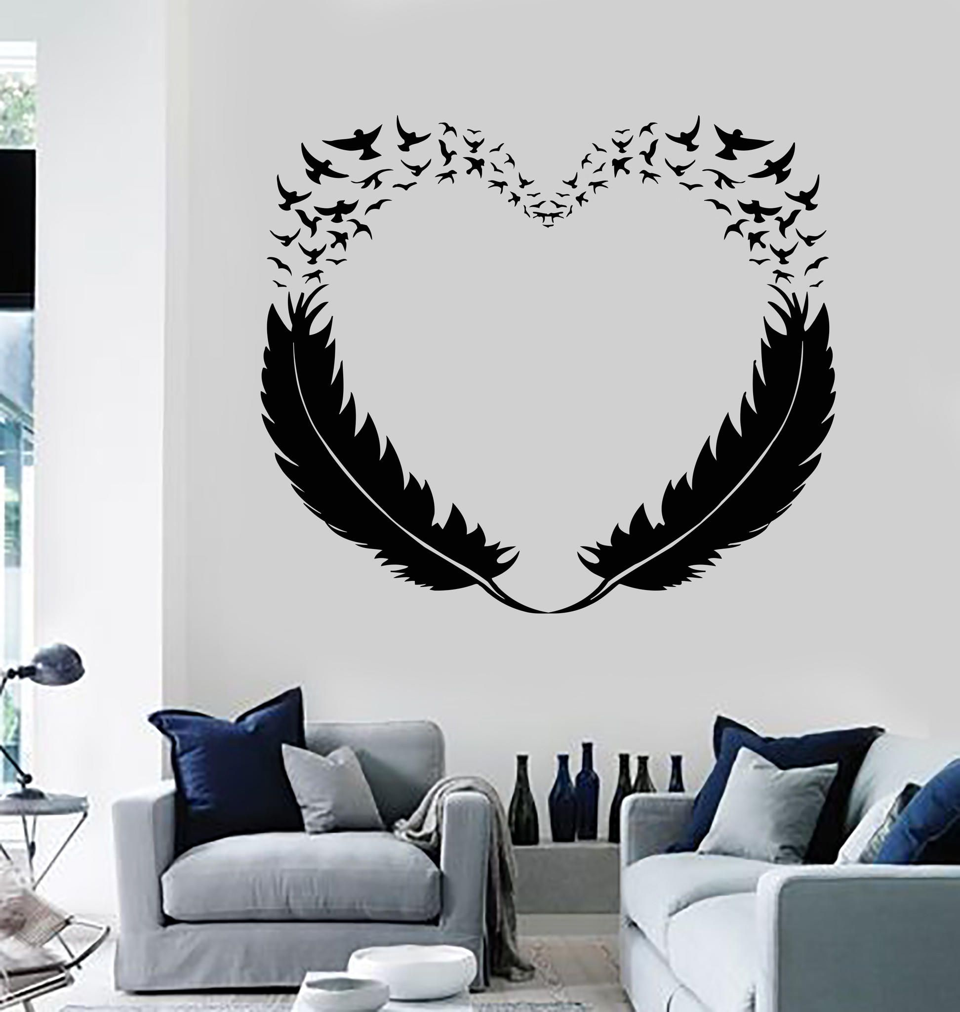 Vinyl Wall Decal Feathers Heart Decor Love Birds Romantic Stickers
