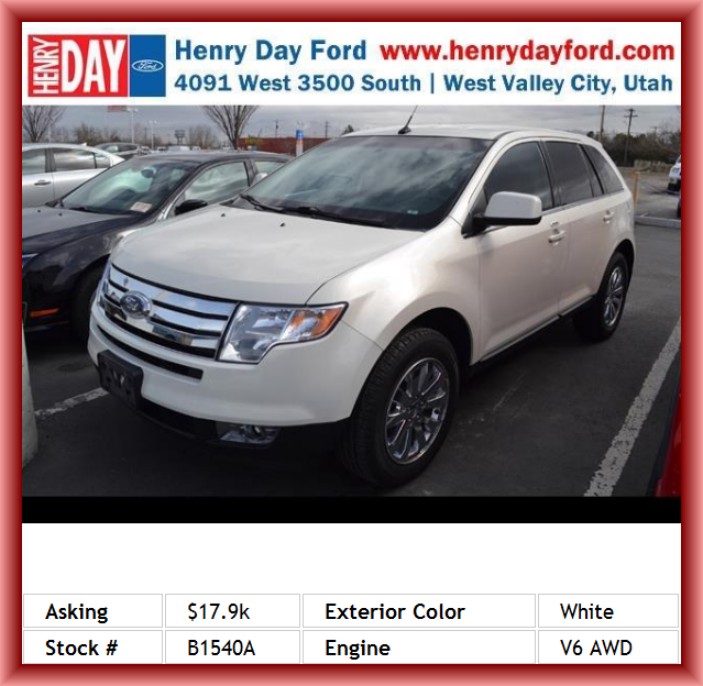 2008 Ford Edge Limited Suv Center Console Full With Covered Storage Driver And Passenger Heated Cushion Cruise Controls On S Ford Edge Limited Ford Edge Suv