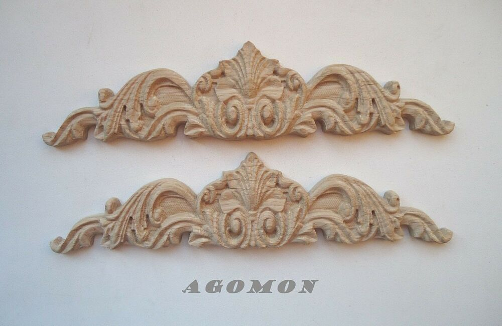 Pair of wood carved flourish wall applique onlays wood etsy
