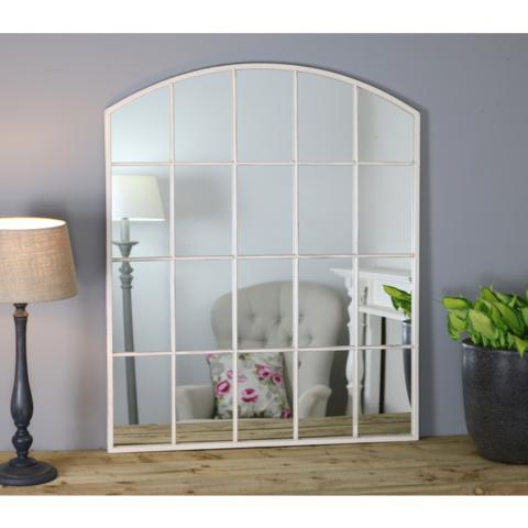 Bridgewater Vintage White Industrial Arched Window Mirror 36 X 30 90cm X 75cm Arched Window Mirror Window Mirror White Industrial
