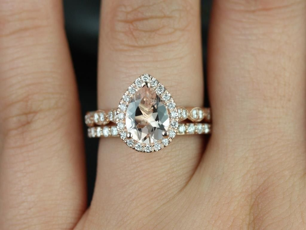 rosados box sydney taylor rose gold pear morganite halo and leaves wedding set pear shaped engagement - Pear Shaped Wedding Ring Sets