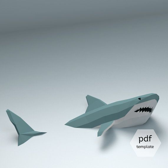 Low Poly Shark Model Create Your Own 3D Papercraft