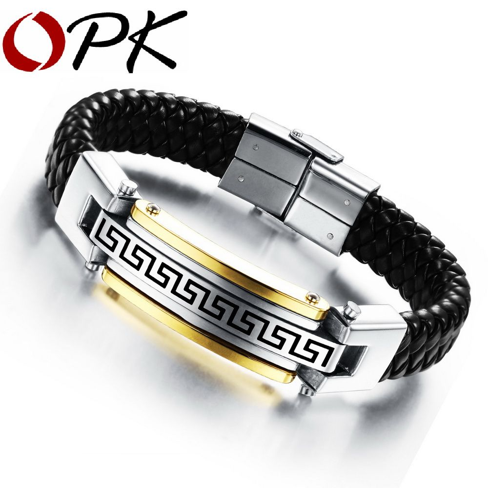 Opk classical man wrap bracelets fashion new genuine leather