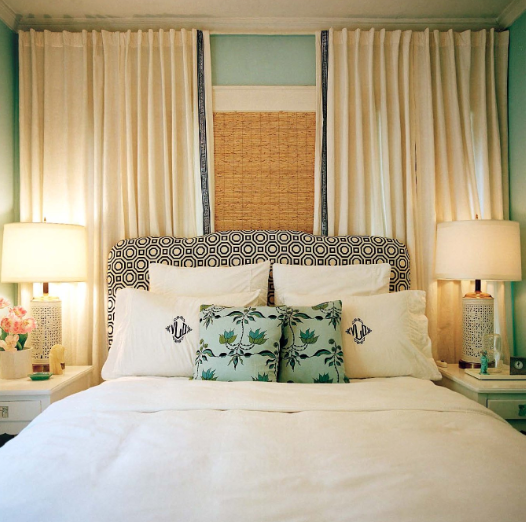 Curtains behind bed #bedroom #curtains