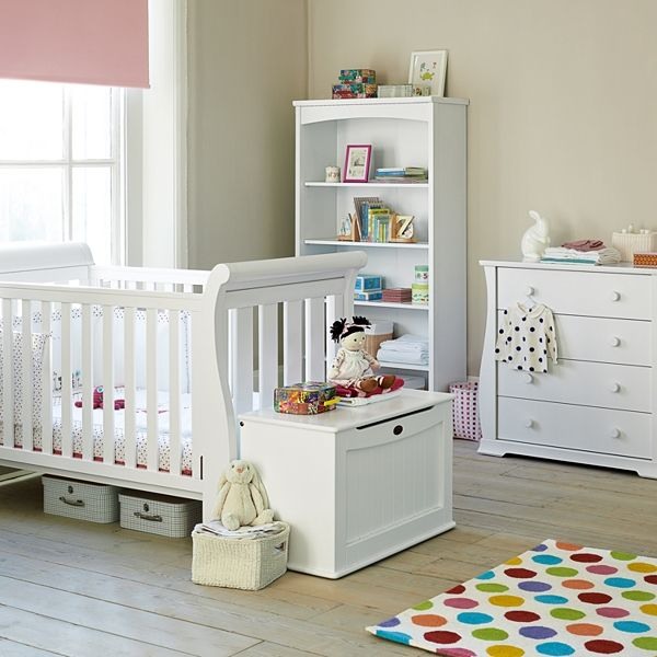 Boori Nursery Furniture In White Sleigh 3 1 Cot 4 Drawer Chest Toddler Bedroom