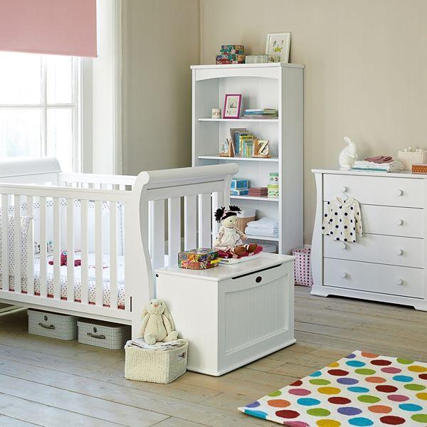 Boori Nursery Furniture In White Sleigh 3 1 Cot 4 Drawer Chest Large Bookcase Toybox