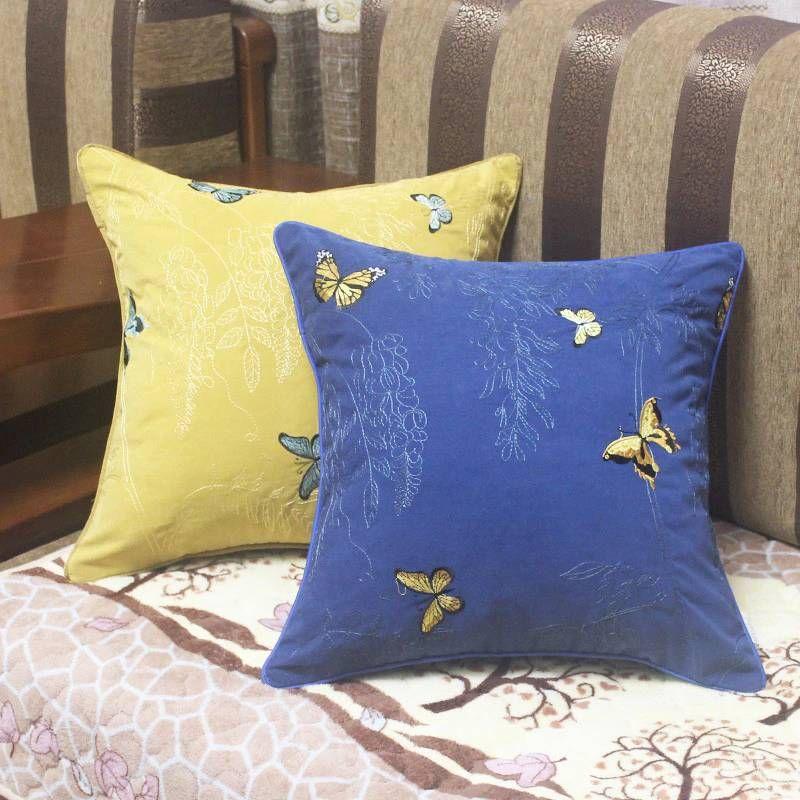 Luxury Embroidery Cushion Cover Garden Butterfly Cojines Decorativos Para Sofa Car/Pillow Cover Ramadan Decor Housse De Coussin