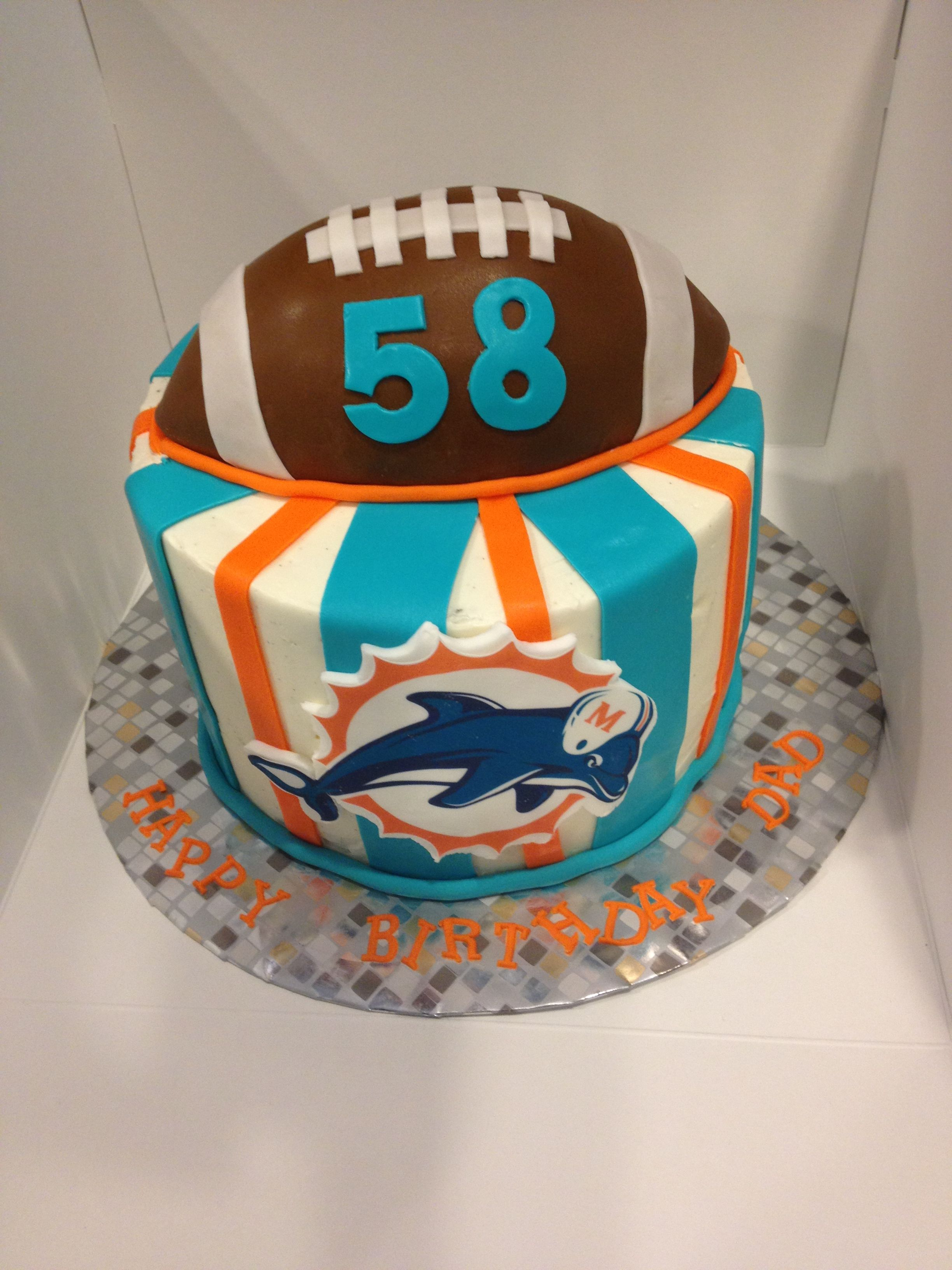 Miami Dolphins Cake For Dad S Bday Miami Dolphins Cake Dolphin Cakes Sports Themed Cakes
