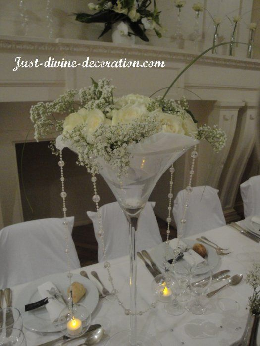 Composition florale vase martini blanc po tique mariage par just divine d coration pinterest - Centre de table verre martini ...