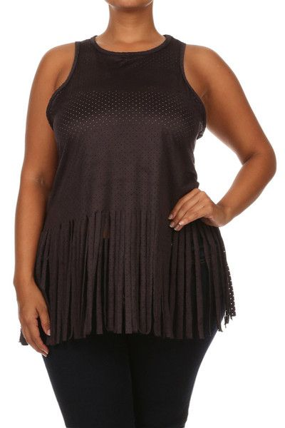 Plus Size Peek Through Fringe Grey Tank