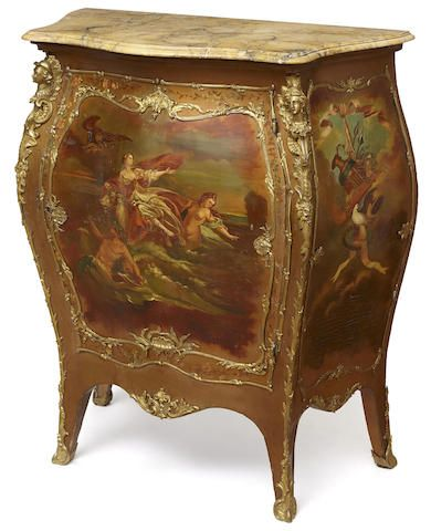A Louis XV style gilt bronze mounted paint decorated meuble d\u0027appui