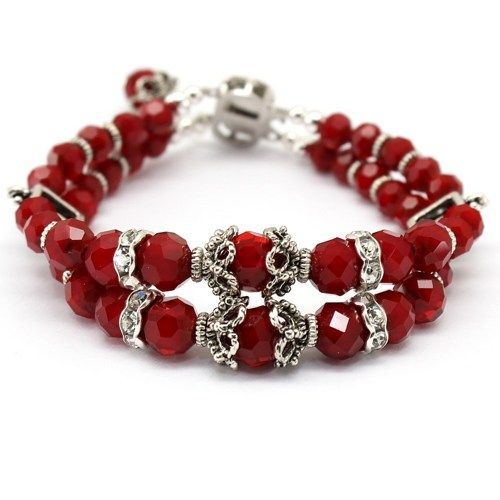 Red Bracelet,Double Strand Crystal Jewelry,Victorian Fashion