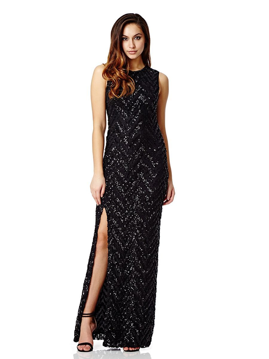 5a3819cd Black Sequin Chevron Zig Zag Maxi Dress - Quiz Clothing   Howell ...