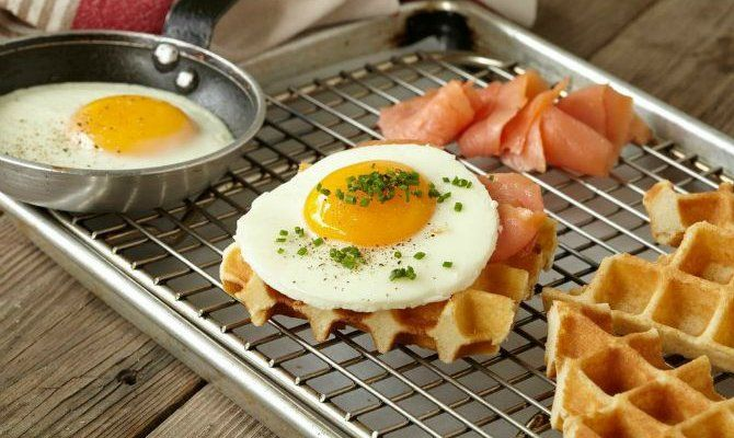Smoked Salmon with Eggs and Waffles | Recipe | The Daily Meal