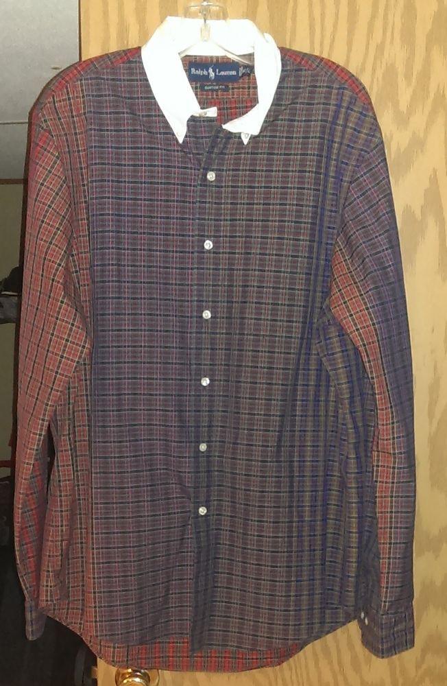 4f67242b Ralph Lauren Plaid Button Up Shirt~Custom Fit~16-1/2 L~White Collar~100%  Cotton #RalphLauren