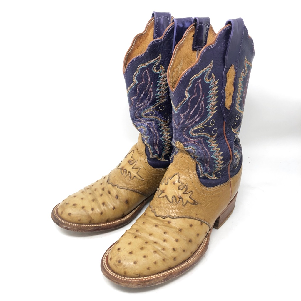 3702871c41a Lucchese Shoes | Lucchese 2000 Tanpurple Full Quill Ostrich Boots ...
