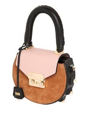 salar - women - top handles - mini mimi color blocked suede bag