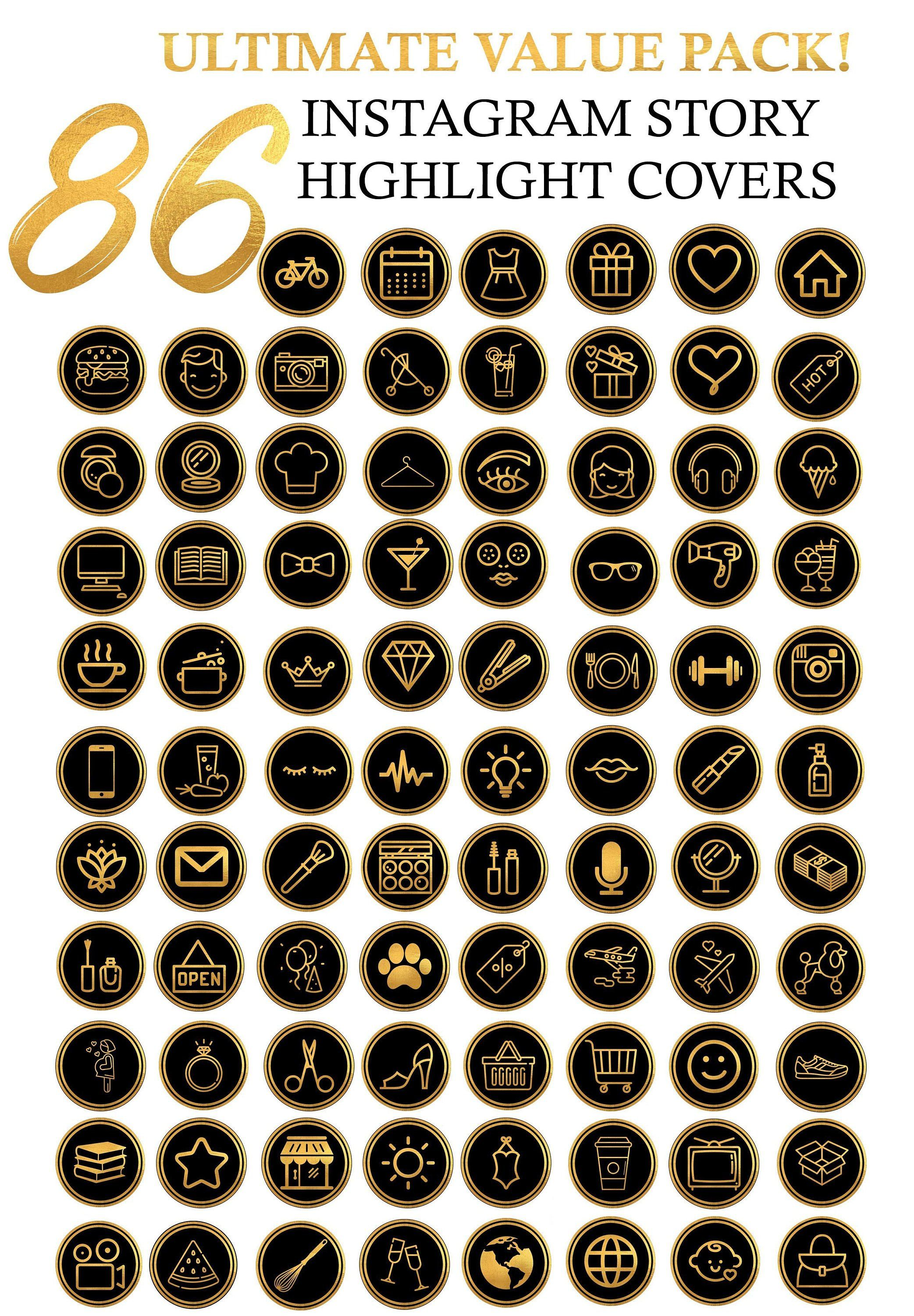 90 Instagram Story Highlight Icon Covers - Gold Foil ...