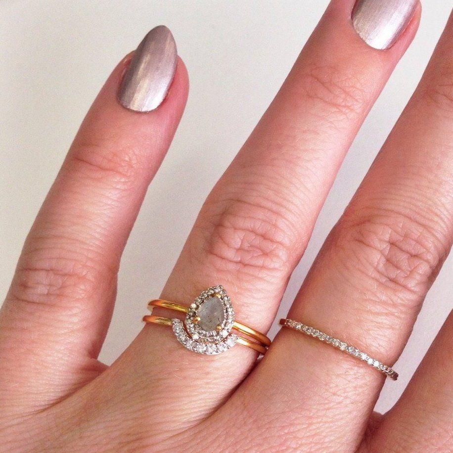 Pear Shaped Labradorite & Diamond Ring | Labradorite, Diamond and Shapes