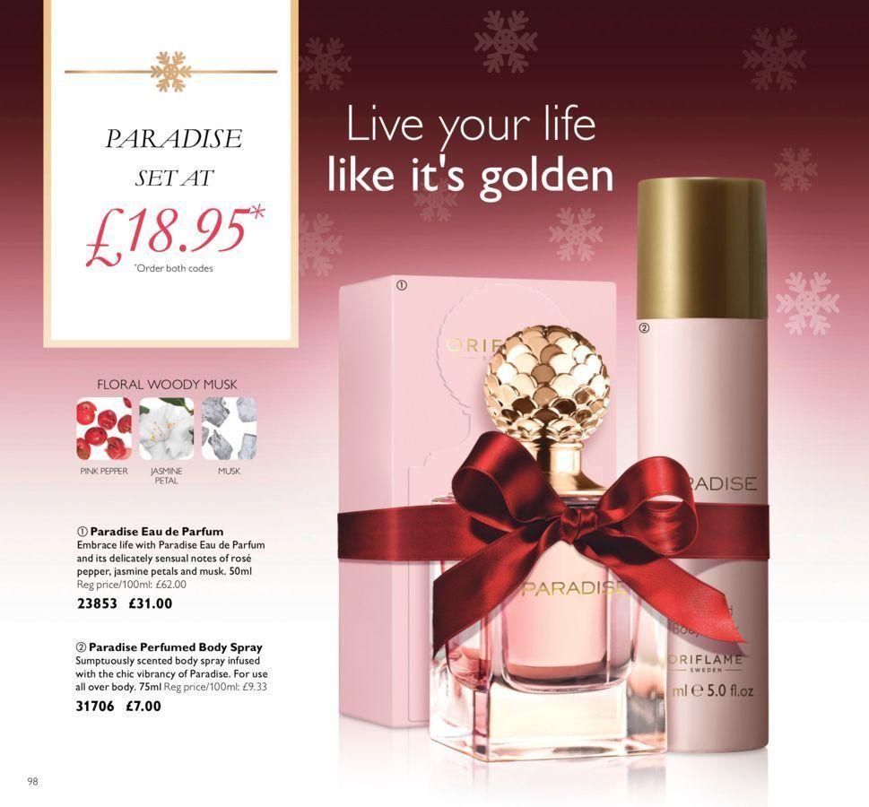 Oriflame Paradise Eau de Parfum +Body Spray Gifts Set   Christmas ...