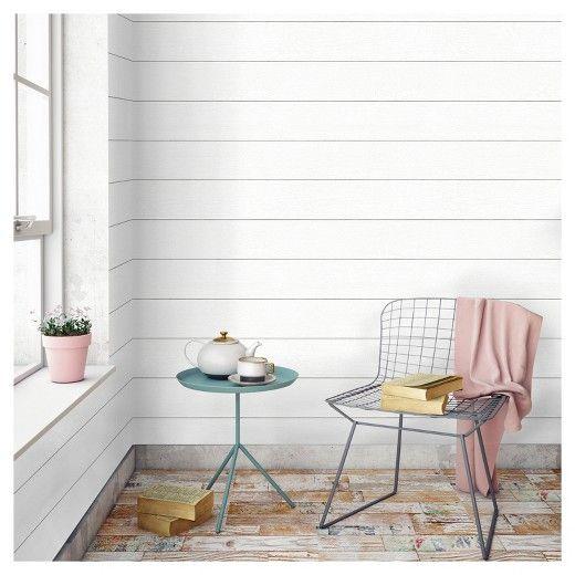 Textured Shiplap Peel & Stick Wallpaper White -Threshold™ | Ship ...