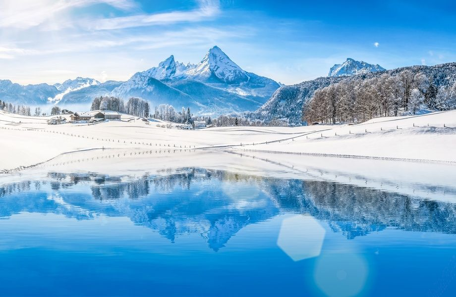 Winter Landscape With Blue Lake 4k Ultra Hd Wallpaper 4k