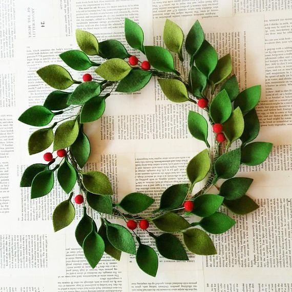 Photo of Felt Christmas Wreath – Green Felt Leaves and Holly Berries – Modern Christmas Wreath – 16″ Total Diameter – Made to Order