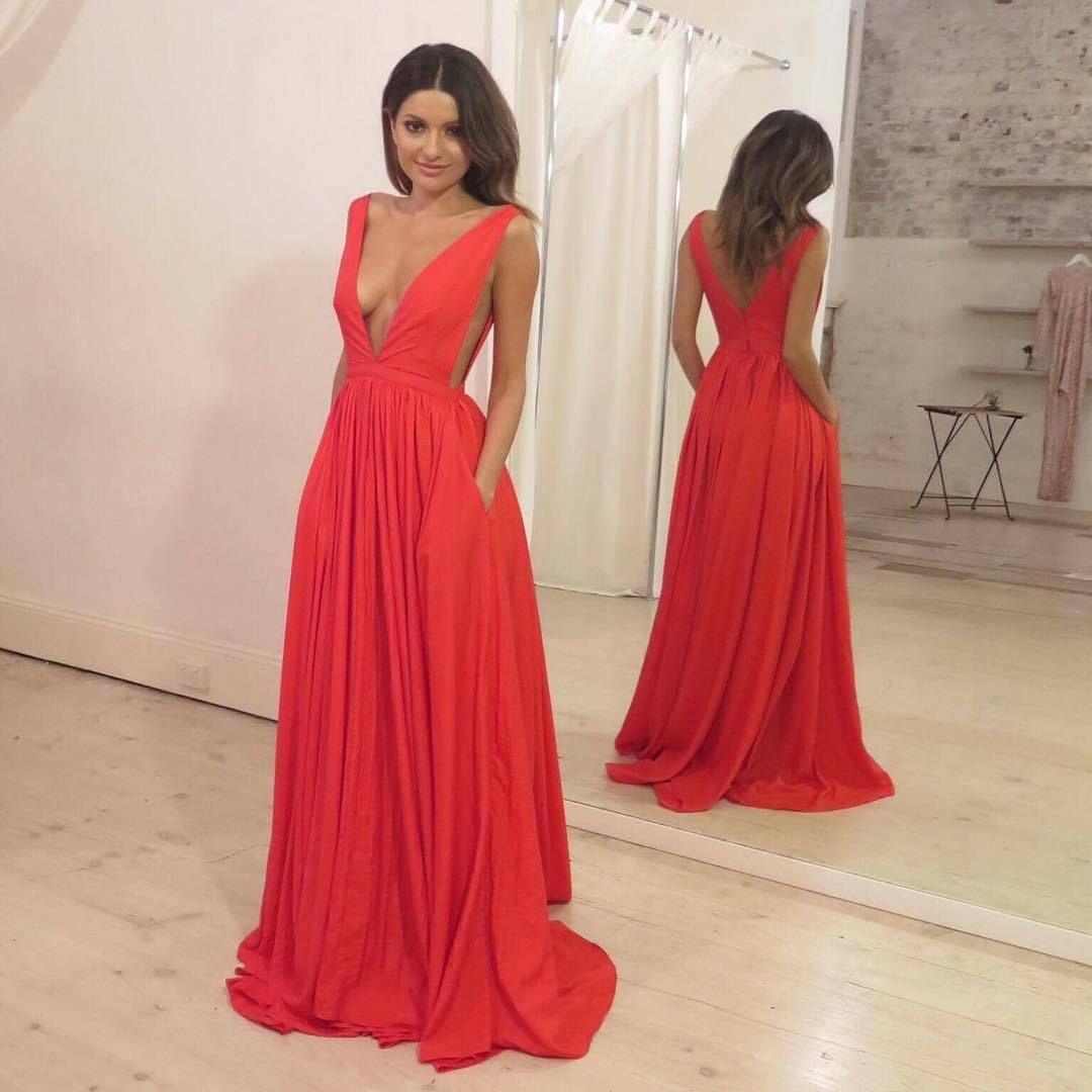sexy vneck prom dress aline red evening dresses formal dress