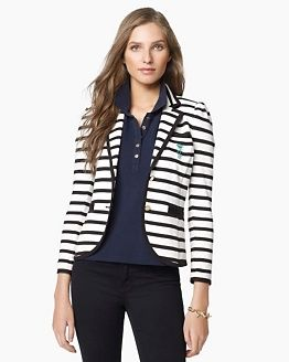 Juicy Couture blazer. Black and White stripes are in :)#Pretty, #Preppy, #NapoleonPerdis