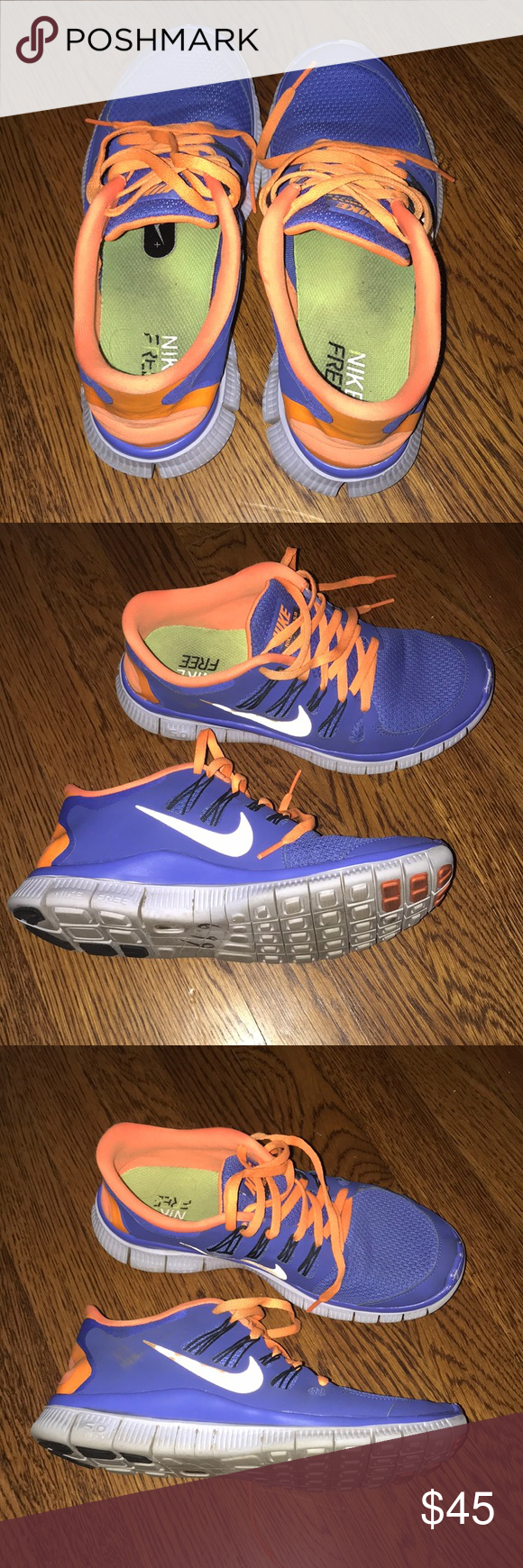 Nike Shoes | Nike Free Run 5.0 | Color: Blue/Orange | Size: 8 #nikefreeoutfit