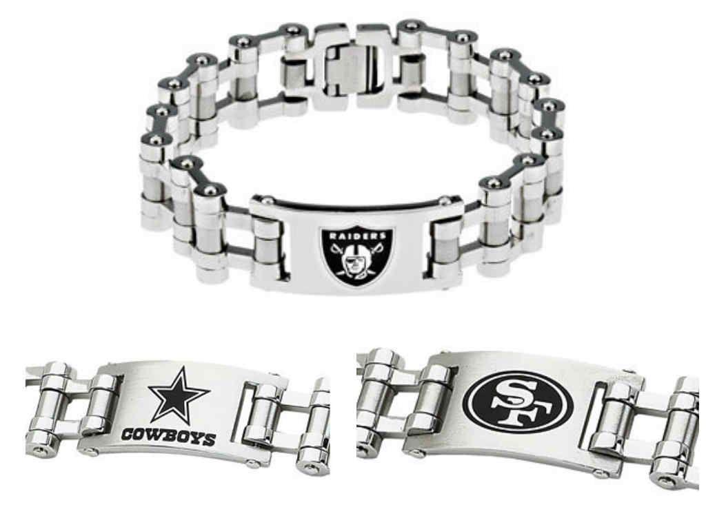 e956c93041cad NFL Team Logo Industrial Link Men's Bracelet in Stainless Steel ...