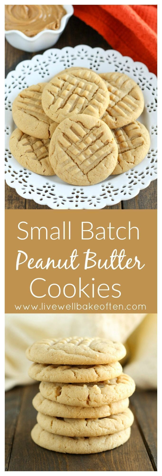 Do you ever make small batch desserts? If there are just one or two people, small batch desserts are just the right thing for you! This easy Small Batch Peanut Butter Cookie recipe is perfect and requires just one bowl! The recipe only makes 6-7 cookies and they're done in just 30 minutes!