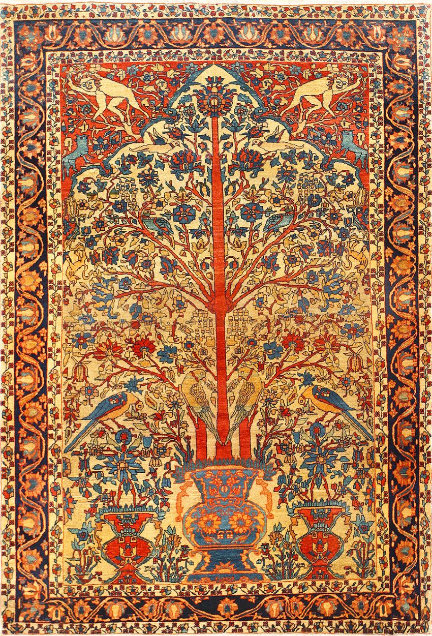 Antique Persian Fine Sarouk Farahan Tree Of Life Rug 48624