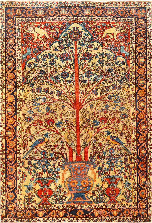 Fine Antique Sarouk Farahan Tree Of Life Persian Rug 48624 Antique Persian Carpet Handmade Persian Rugs Rugs