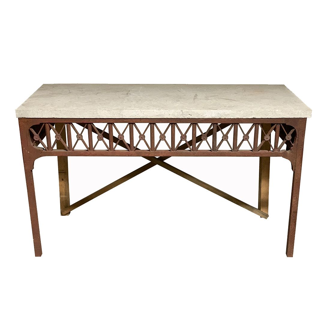 Ig17018 Stone Top Console Table Full In 2021 Mid Century Console Console Table Stone Top