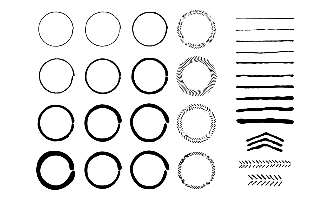 Round Frame Clip Art Hand Drawn Border Decorative Labels Vector Graphics Floral Wreaths Silhouette Illustrations Png Svg Eps Pdf Dxf Frame Clipart Clip Art Art Bundle