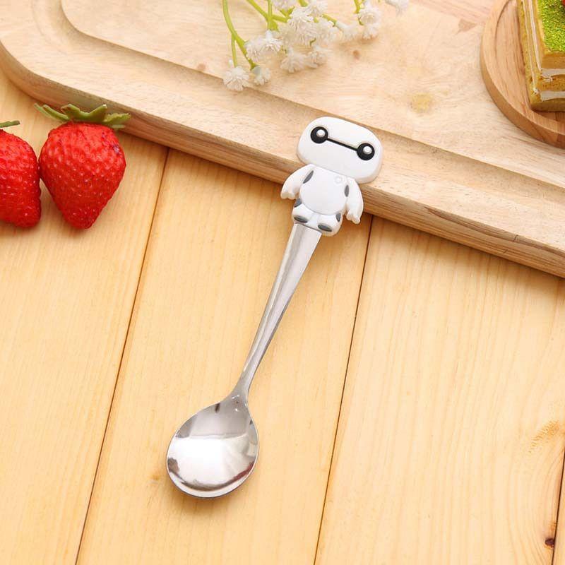 Cute cartoon hello kitty stainless steel spoon stainless steel spoon, Soft Silicone Baby Spoon / Feeding Spoon Baby Flatware