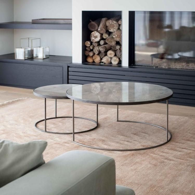 Notre Monde Heavy Aged Mirror With Silver Detail Coffee Table