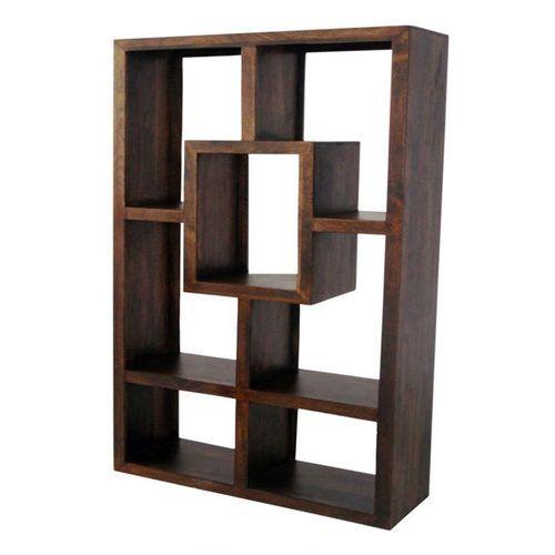 Yoga Bookcase Walnut Finish W120 X D35 X H180cm Mango Wood Rumah