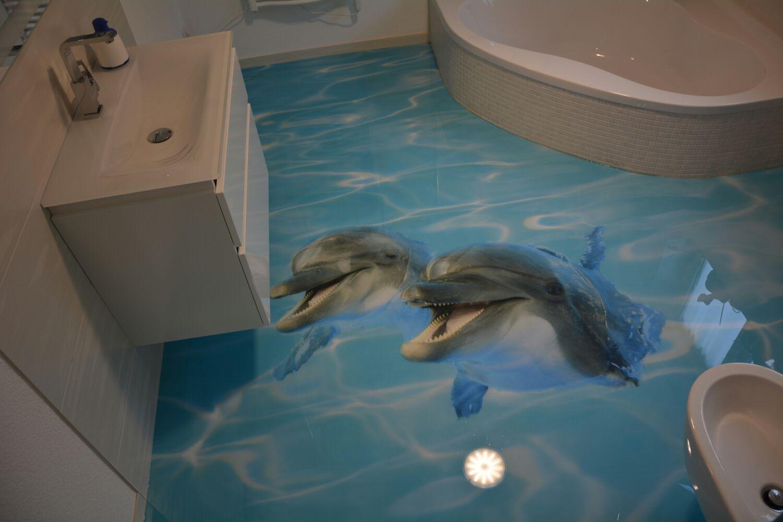 Stedfloor 3d Boden Delfine Im Badezimmer Bodenbeschichtung Spachteltechnik 3d Fussboden