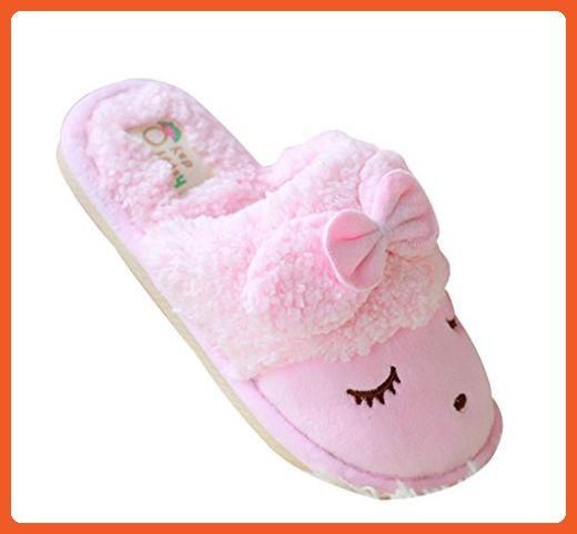 d6856f9b07f53 Cattior Womens Bow Cute Warm Ladies Slippers Fluffy Slippers (6 ...