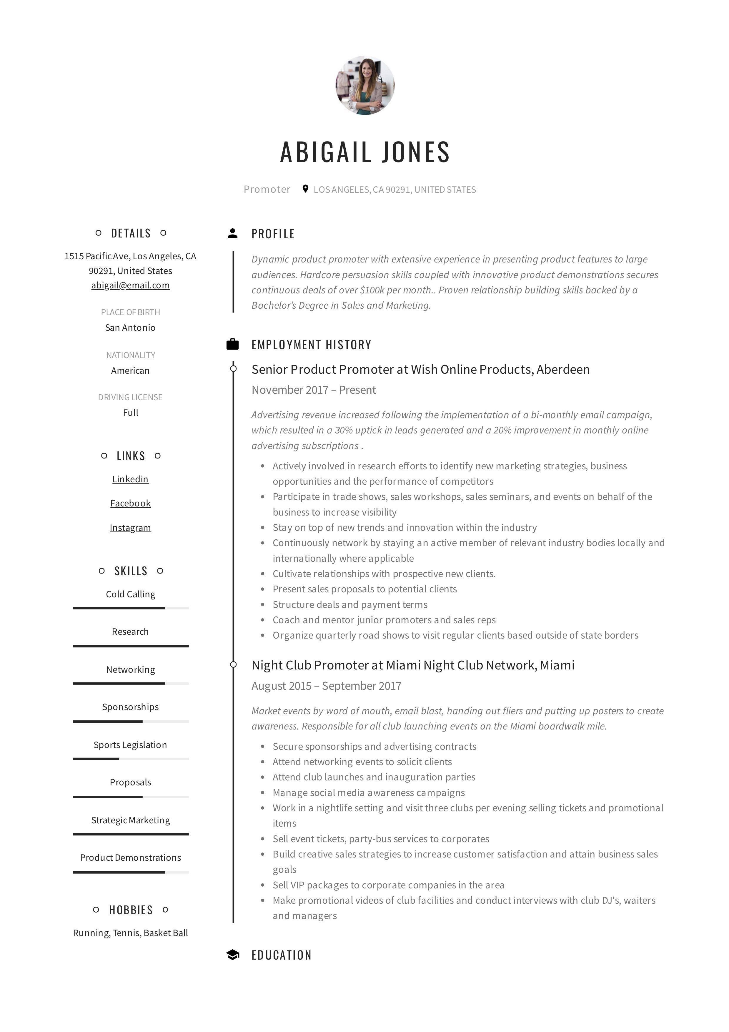 Promoter Resume Example Resume Examples Guided Writing Relationship Building Skills