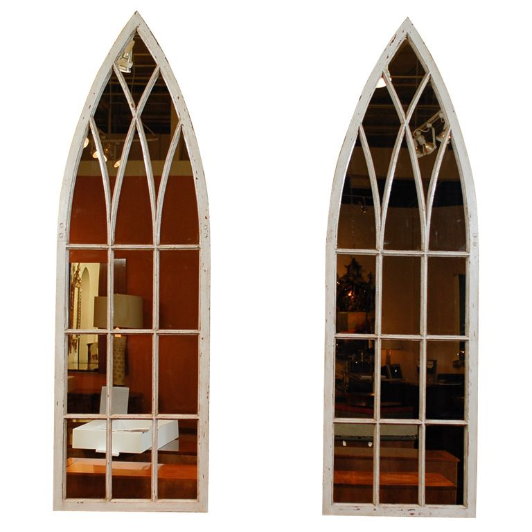 English Gothic Revival Broken Arch Painted Window Frame With Mirrored Backing Arch Mirror Window Design Window Painting
