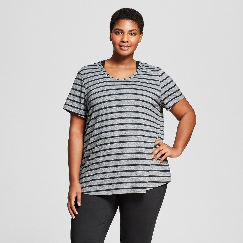 4b5491c03 Women's Plus-Size Striped Graphic T-Shirt - C9 Champion Dark Heather Gray/Black  2X, Black Heather