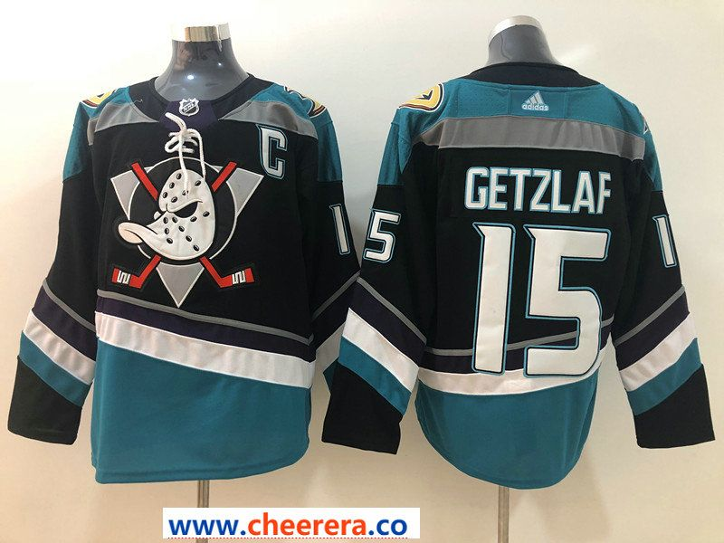 3170ba83e Men's Anaheim Ducks #15 Ryan Getzlaf 2018 New Black with Teal Stitched  adidas NHL Jersey