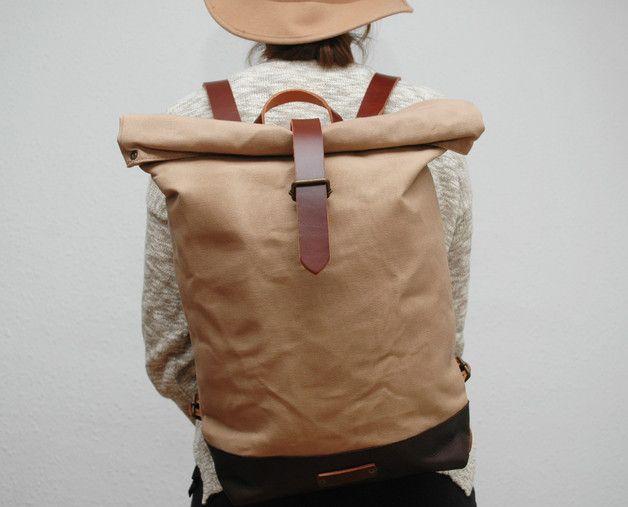 Canvas totes - waxed Canvas Backpack, hand waxed - Een uniek product van NATURAL-HERITAGE-BAGS op DaWanda