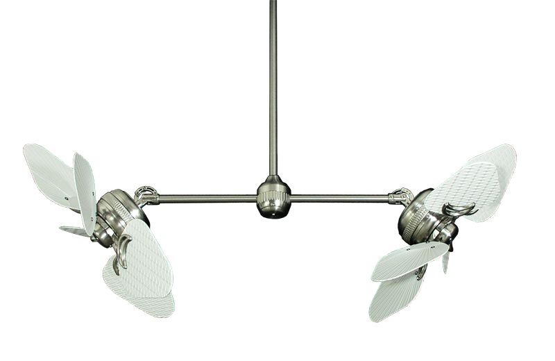 Twin Star Ii Brushed Steel Dual Ceiling Fan With 35 Pure White Abs Wicker Leaf Outdoor Blades Dual Ceiling Fan Ceiling Fan Outdoor Ceiling Fans