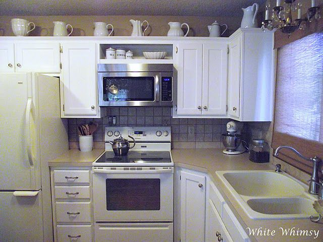 White Whimsy Our Cottage Microwave In Kitchen Kitchen Remodel Home Kitchens