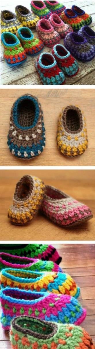 Crochet Kimono Baby Shoes Video Tutorial | Häkeln, Babyschühchen und ...